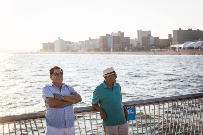 Two men on the Coney Island pier