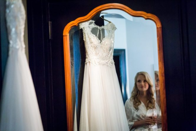 Wedding dress and bride before a Gallow Green wedding