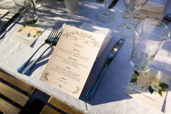 Menu card at a Gallow Green wedding