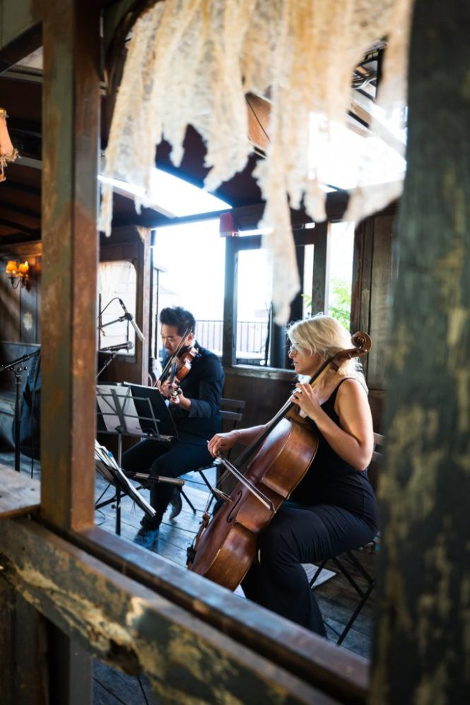 Ceremony musicians at a Gallow Green wedding