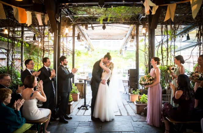 Bride and groom kissing at a Gallow Green wedding