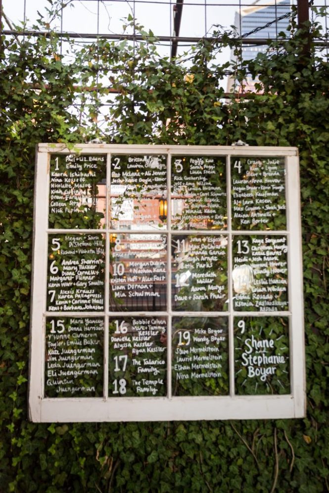 Escort card board at a Gallow Green wedding