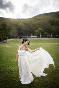 Portrait of the bride at a Bear Mountain Carousel wedding