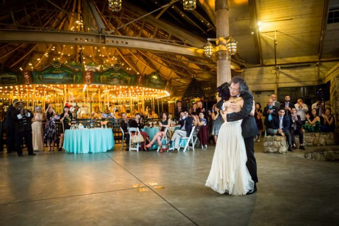 Father-daughter dance at a Bear Mountain Carousel wedding