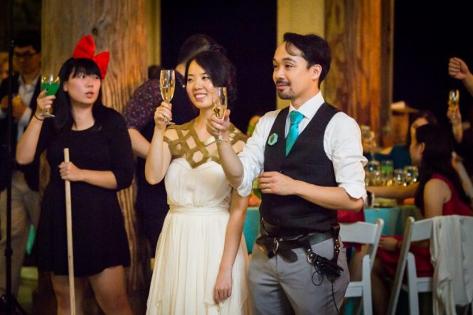 Toasts at a Bear Mountain Carousel wedding