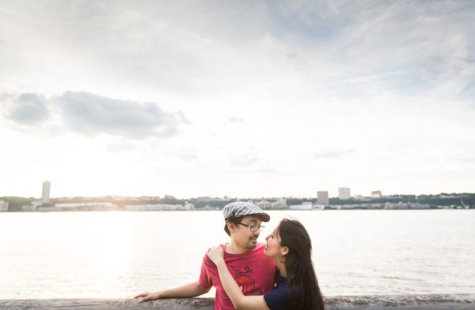 Riverside Park engagement portrait for an article on NYC engagement shoot locations