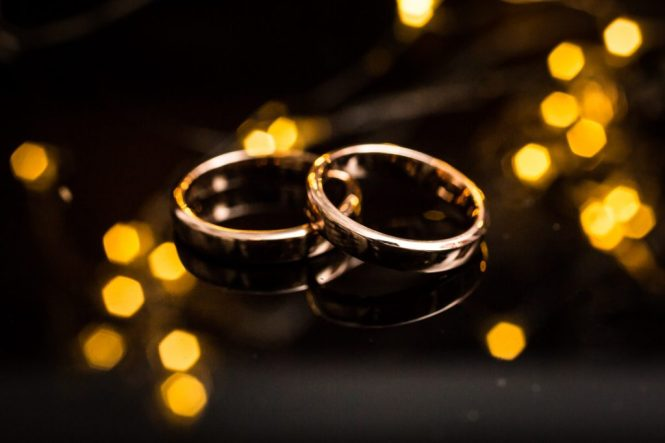 Wedding rings at a Housing Works Bookstore Cafe wedding