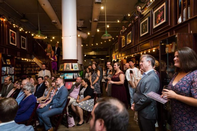 Ceremony at a Housing Works Bookstore Cafe wedding