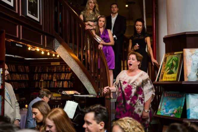 Guest singing at a Housing Works Bookstore Cafe wedding