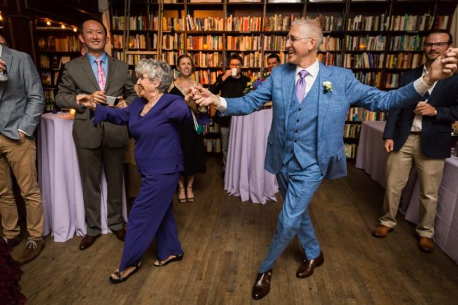 Greek line dancing at a Housing Works Bookstore Cafe wedding