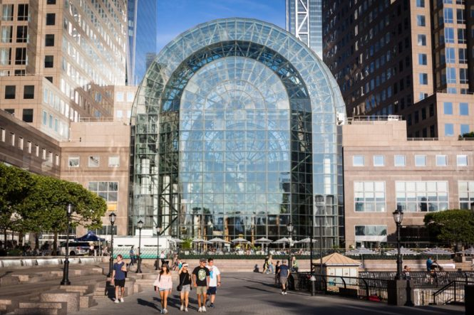 Exterior of Brookfield Place for an article on public atriums as an option for NYC rainy day photo shoot locations