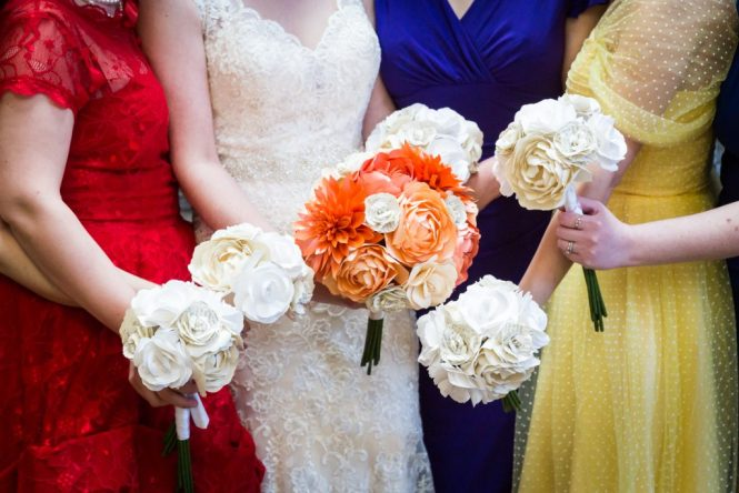Paper bouquets for an article on bouquet and garter toss alternatives