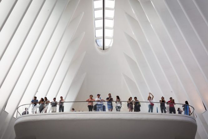 Tourists in the Oculus for an article on City Hall wedding portrait locations