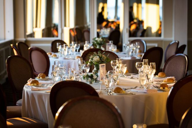 Reception tables at a Larchmont Shore Club wedding