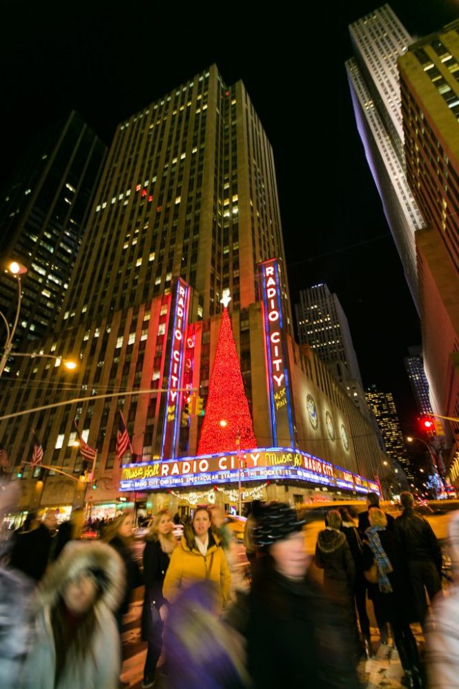 Radio City Music Hall at Christmas for an article on NYC holiday card location suggestions