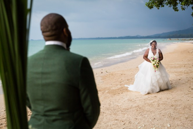 Groom seeing bride for first time for an article on destination wedding photography tips