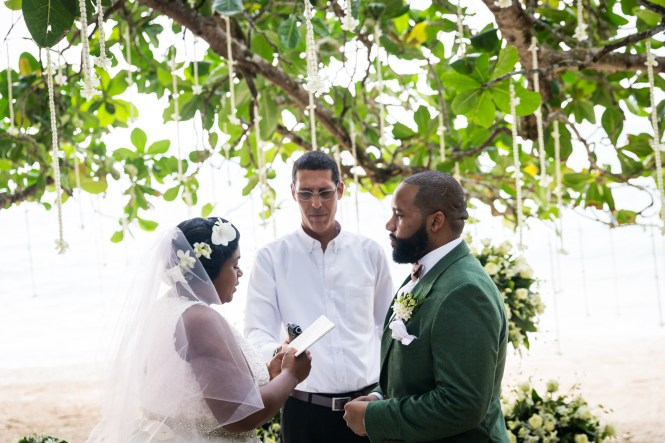 Bride and groom at altar for an article on destination wedding photography tips