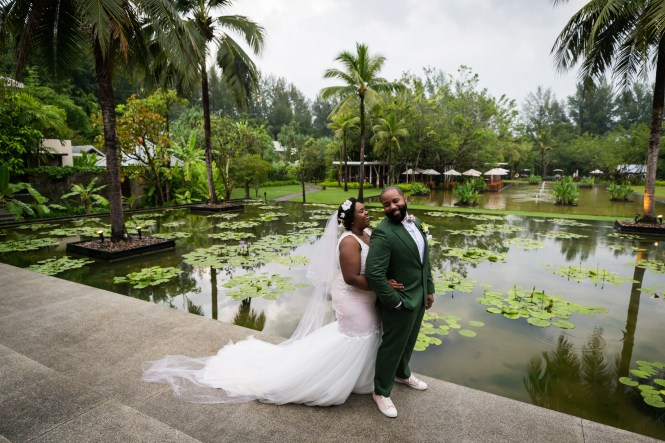 Bride and groom in Thailand for an article on destination wedding planning tips
