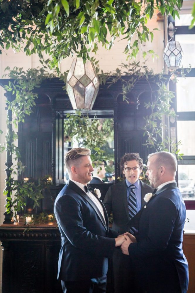 Ceremony at a same sex wedding celebration in Washington DC