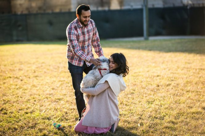 Mother-to-be, husband and dog playing for an article on maternity portrait tips