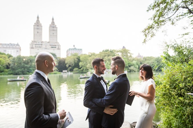 Grooms after ceremony for an article entitled, 'Do you need a permit to get married in Central Park?'