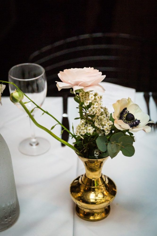 Vase and flowers at a Central Park Conservatory Garden wedding