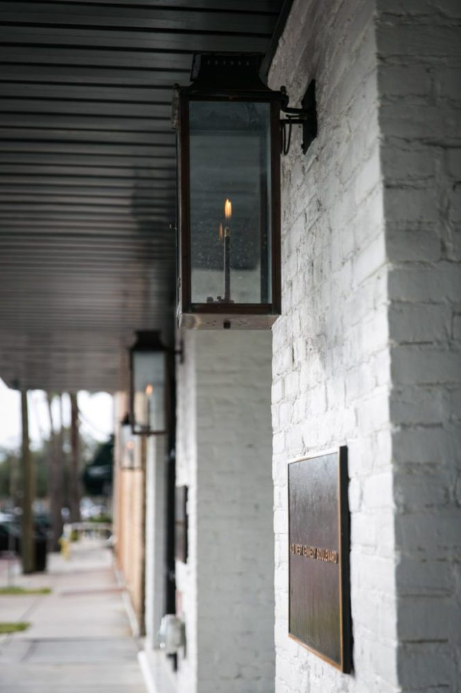 Gas lamps outside the entrance