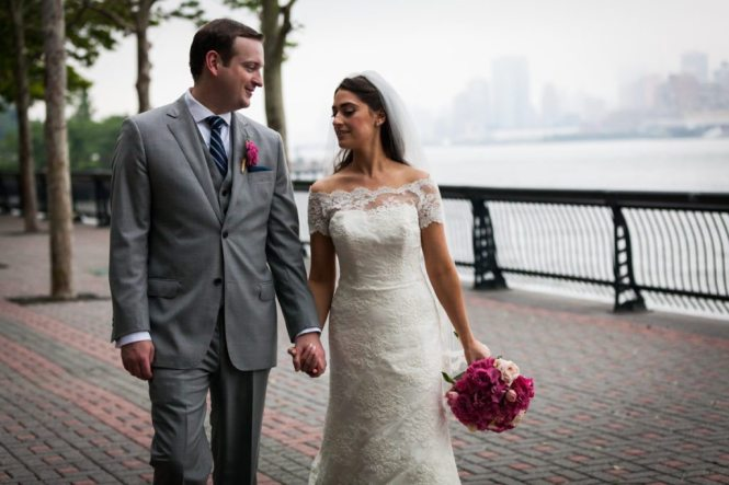Bride and groom portrait by Hoboken wedding photographer, Kelly Williams