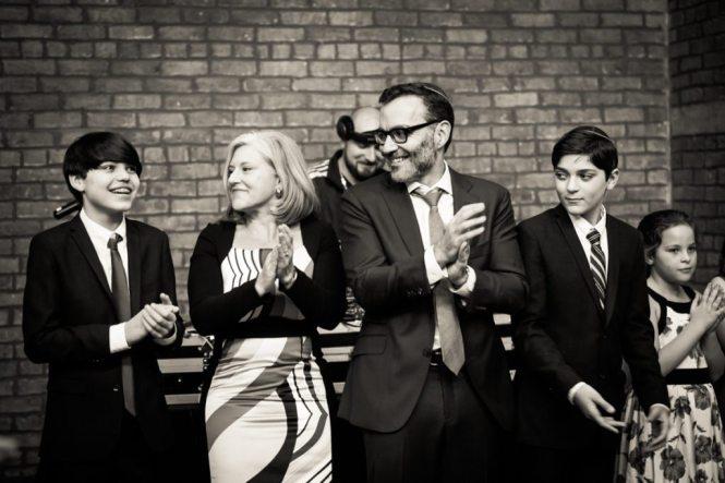 The hora at a Brooklyn bar mitzvah at 26 Bridge, by Brooklyn bar mitzvah photographer, Kelly Williams