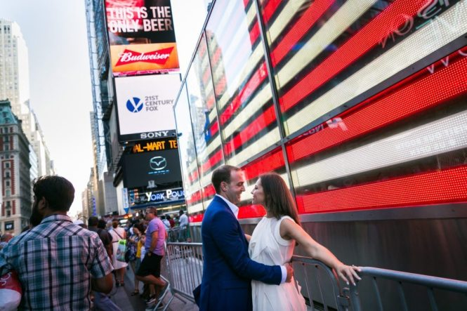 You're engaged, now what? Photo from an engagement shoot to accompany an article about what do you do after you get engaged, by Times Square engagement photographer, Kelly Williams