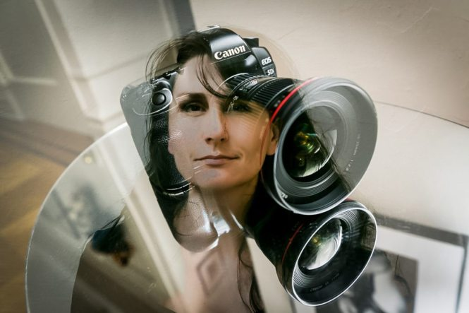 Double exposure portrait of photographer, Kelly Williams, for a photo gallery review