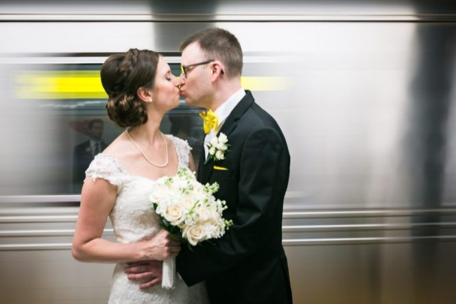 Bride and groom in the NYC subway before a Columbus Citizens Foundation wedding by NYC wedding photojournalist, Kelly Williams