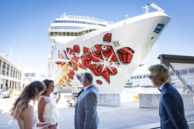 Bride, groom, and cruise ship before their Ladies Pavilion wedding by NYC wedding photojournalist, Kelly Williams
