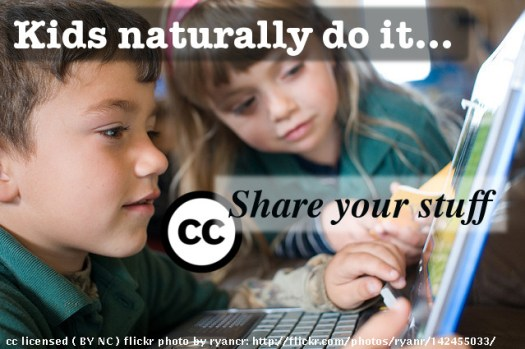 CC License promotion via image of children working on a laptop