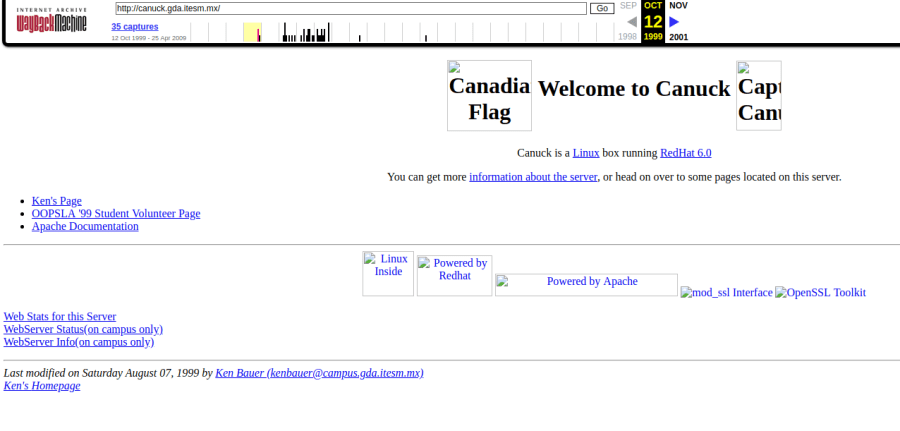 Image of an Internet Archive save of my old web page at https://web.archive.org/web/19991012011447/http://canuck.gda.itesm.mx/
