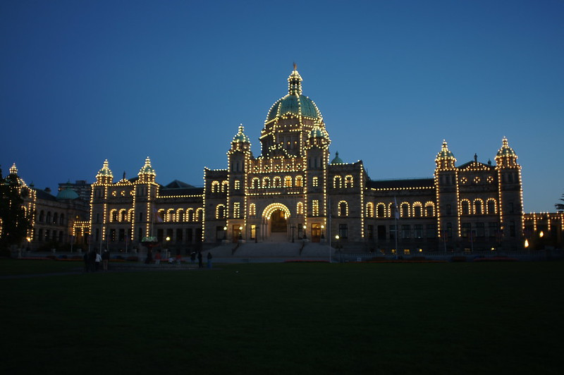 Evening shot of the parliament buildings in Victoria, BC, Canada