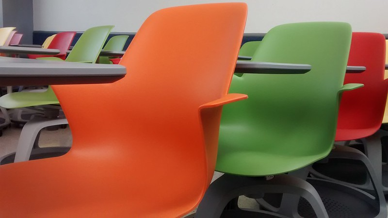 Picture with multi-colored chairs on our campus at the Tec de Monterrey in Guadalajara.