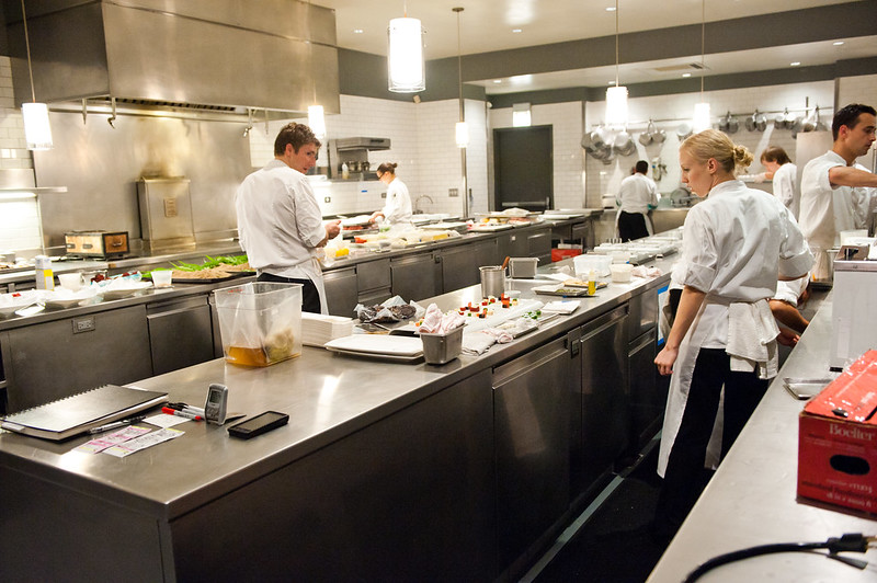 Cooks in a commercial kitchen