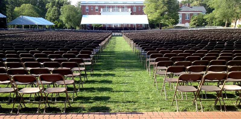 A picture of empty seats setup for an outdoor graduation ceremony at the University of Mary Washington.