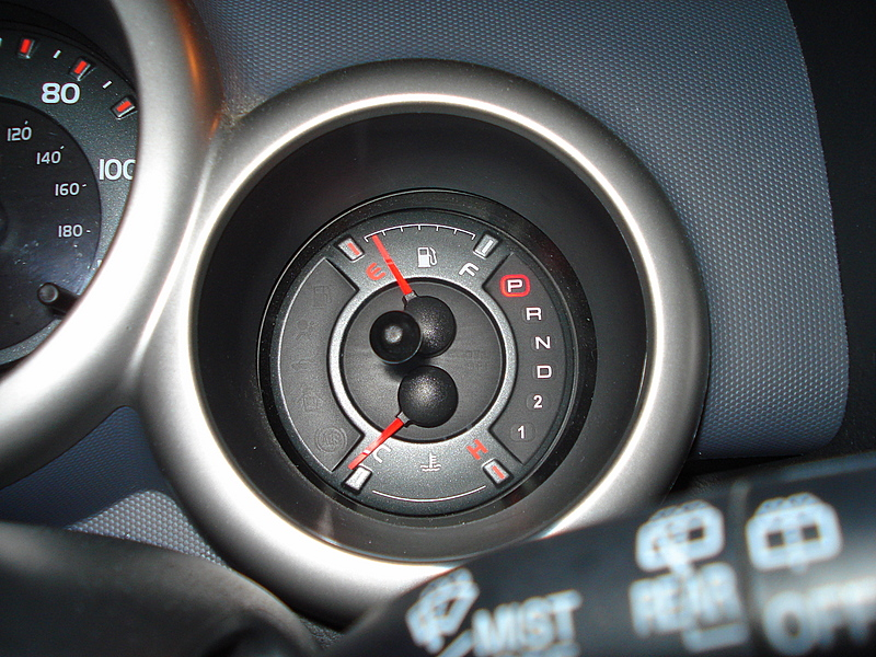 View of an empty gas gauge in a vehicle.