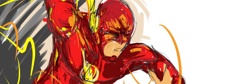 "An artistic rendition of ""The Flash"" superheroe."