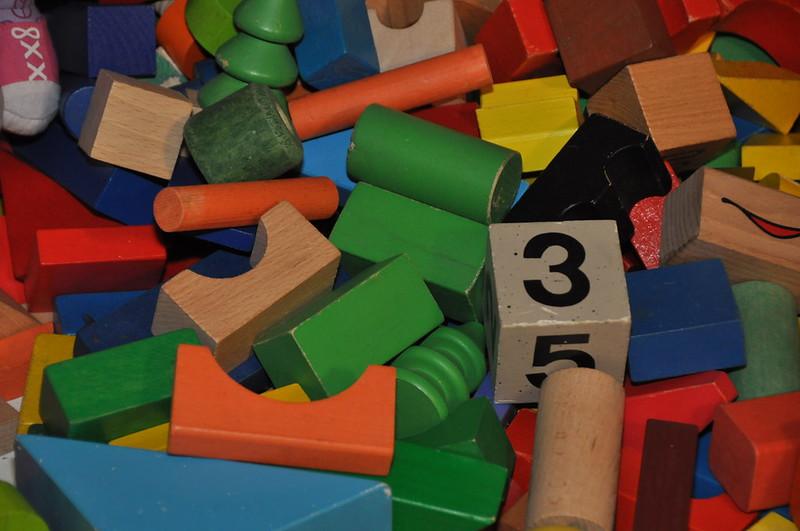 Close up shot of various toy blocks.