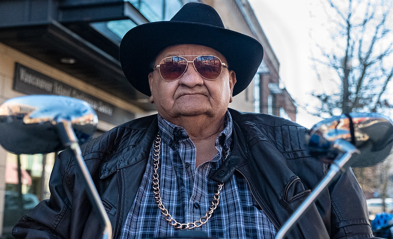 """Excerpt from source: Age 70; First Nation """"Cree"""" from Alberta; living in Nanaimo for the past 39 years; lives alone and neither smokes nor drinks (anymore) and, everyone on the street knows him."""