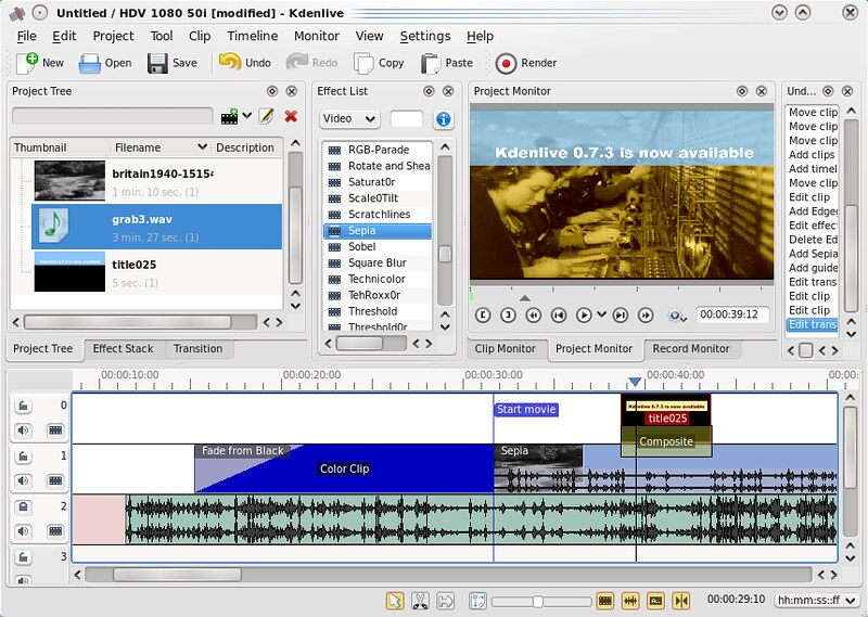 Screenhost of Kdenlive video editor