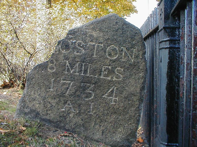 """Boston 8 Miles, 1734"", A nearby plaque says that this milestone dates to 1734."
