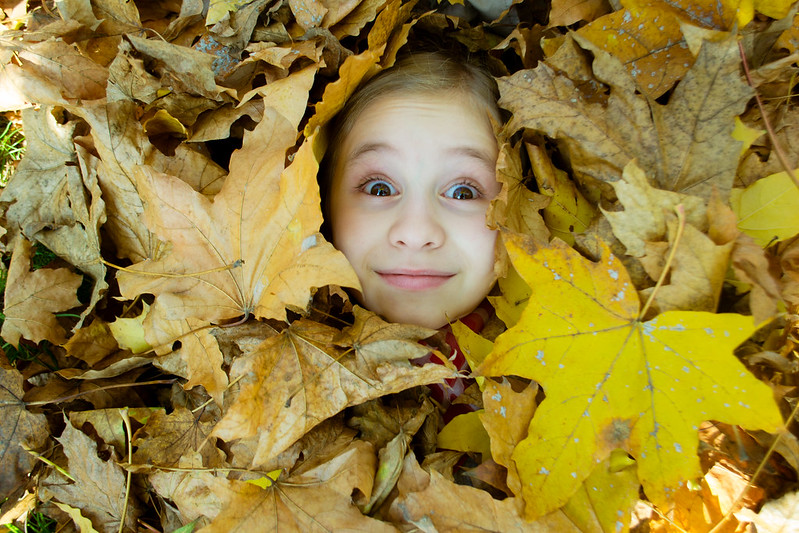 A girl's face popping out of a pile of leaves with a look of surprise.
