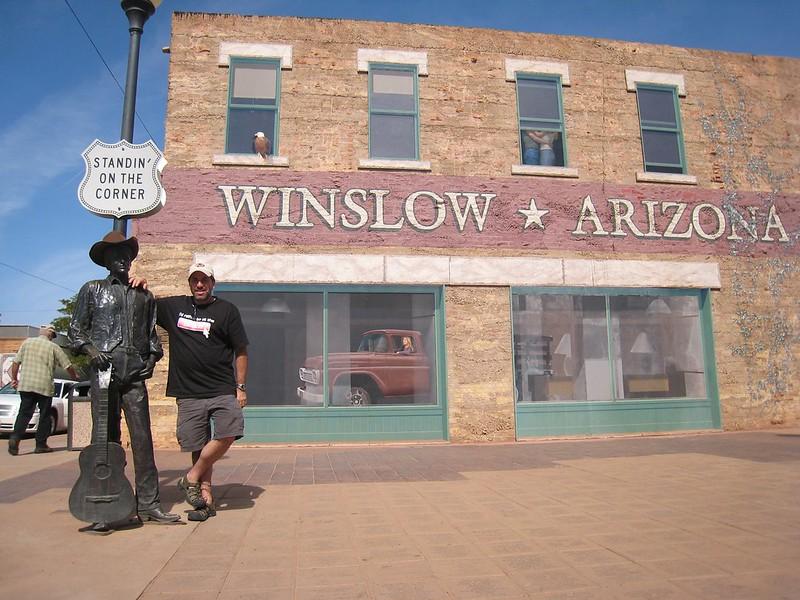 "My friend Alan Levine ""Standing on a Corner in Winslow, Arizona""."