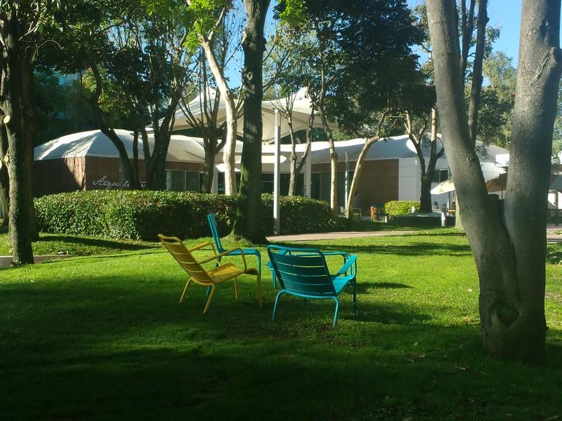 Colourful chairs on the grass at the Tecnológico de Monterrey in Guadalajara.