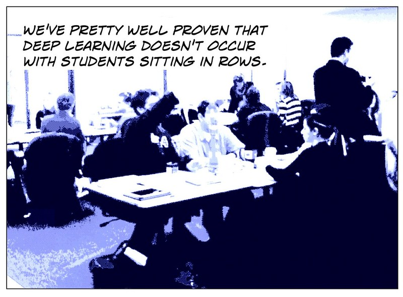 """Artistic """"cartoonized"""" image to appear as an  Education postcard: """"We've pretty well proven that deep learning doesn't occur in rows."""""""