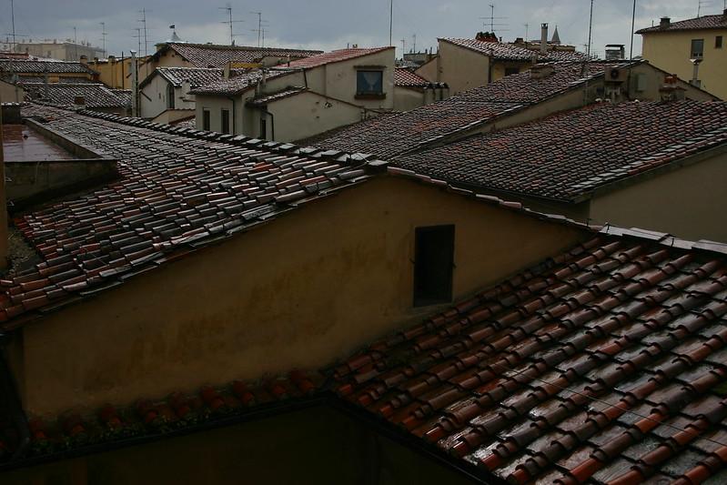Adobe tiled rooftops.